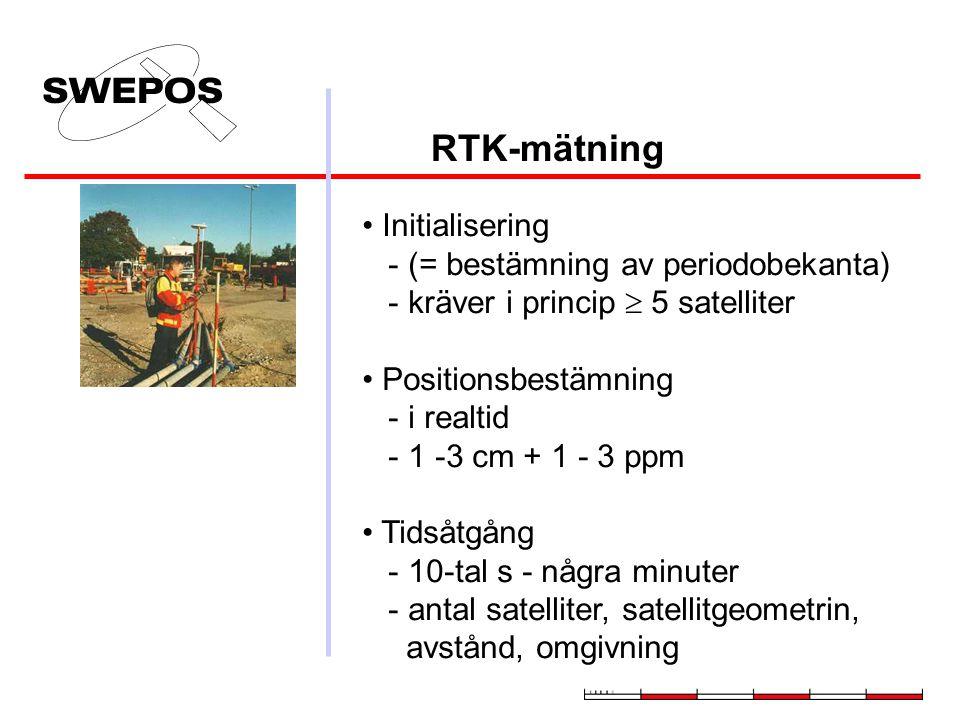 RTK-mätning Initialisering - (= bestämning av periodobekanta) - kräver i princip  5 satelliter.