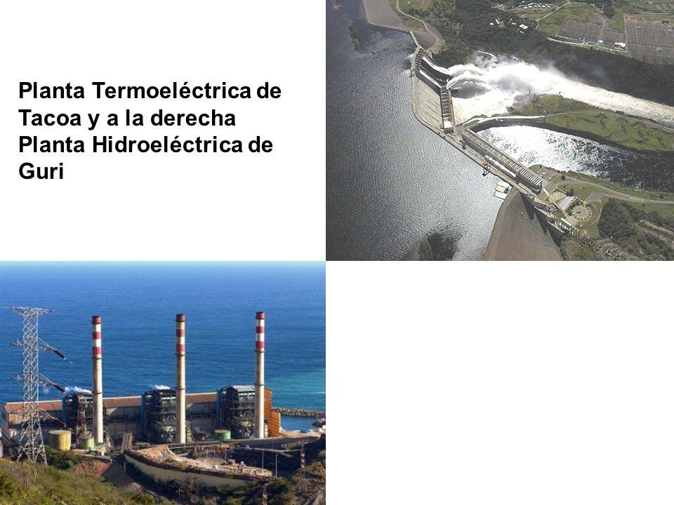 Planta Termoeléctrica de Tacoa y a la derecha Planta Hidroeléctrica de Guri