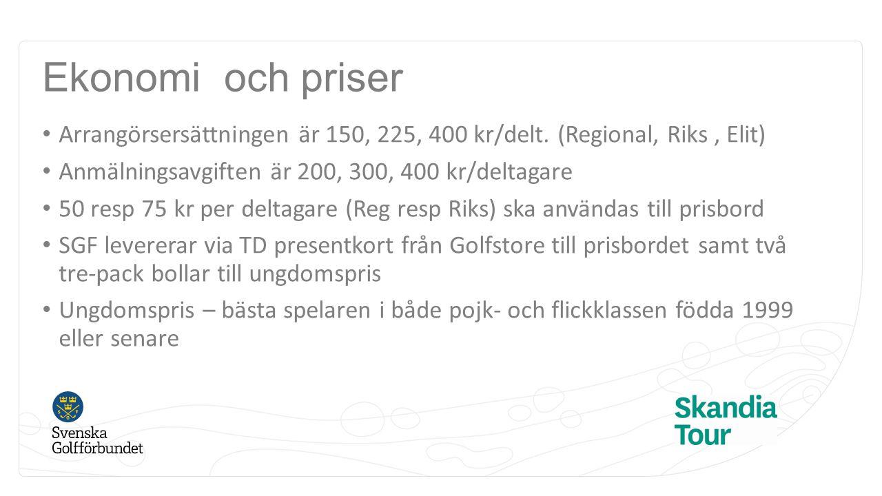 Ekonomi och priser Arrangörsersättningen är 150, 225, 400 kr/delt. (Regional, Riks , Elit) Anmälningsavgiften är 200, 300, 400 kr/deltagare.