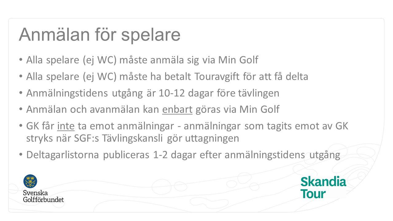 Anmälan för spelare Alla spelare (ej WC) måste anmäla sig via Min Golf