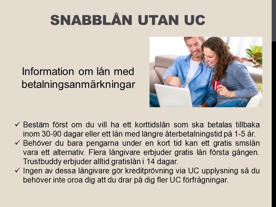 Information om lån med betalningsanmärkningar
