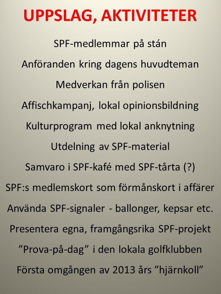 UPPSLAG, AKTIVITETER SPF-medlemmar på stán