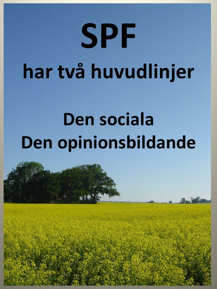 SPF har två huvudlinjer Den sociala Den opinionsbildande