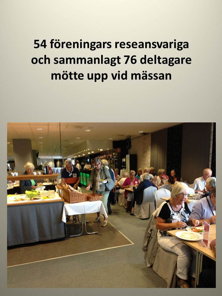 54 föreningars reseansvariga och sammanlagt 76 deltagare