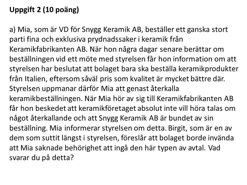 Uppgift 2 (10 poäng)