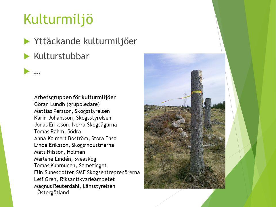 Kulturmiljö Yttäckande kulturmiljöer Kulturstubbar …