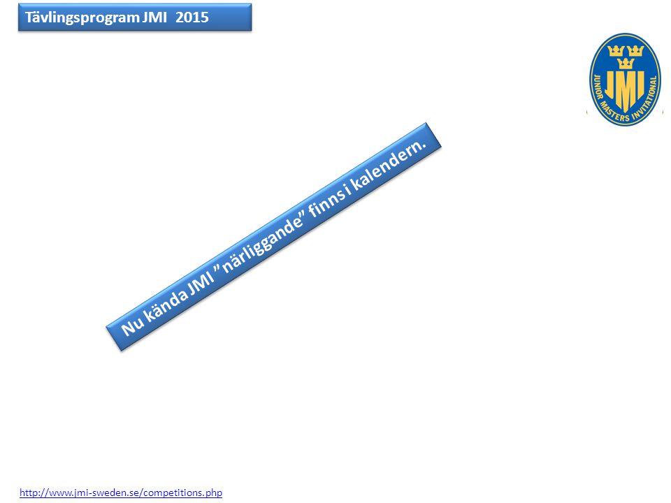 Nu kända JMI närliggande finns i kalendern.