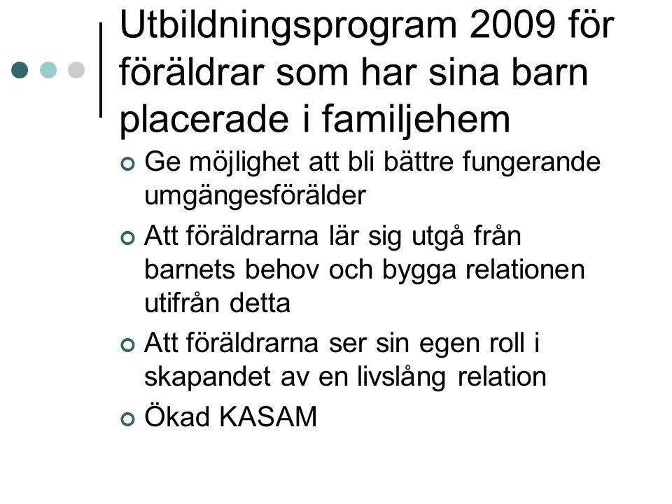 Utbildningsprogram 2009 för föräldrar som har sina barn placerade i familjehem