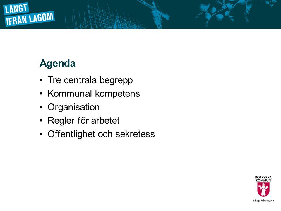 Agenda Tre centrala begrepp Kommunal kompetens Organisation