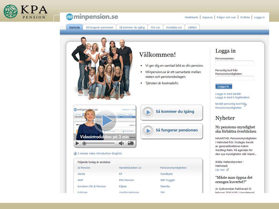 minpension. se, ett samarbete mellan staten och pensionsbolagen