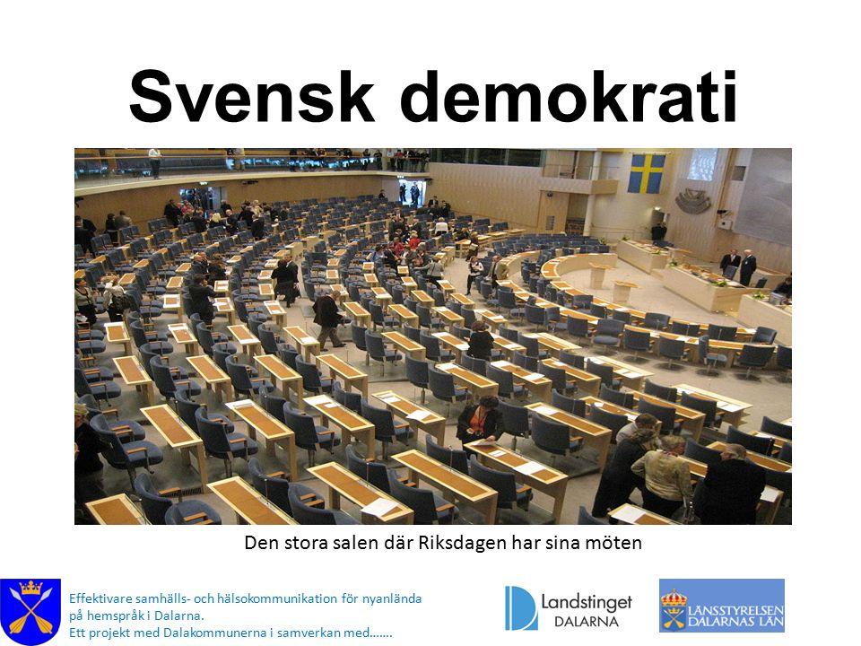 Svensk demokrati Den stora salen där Riksdagen har sina möten