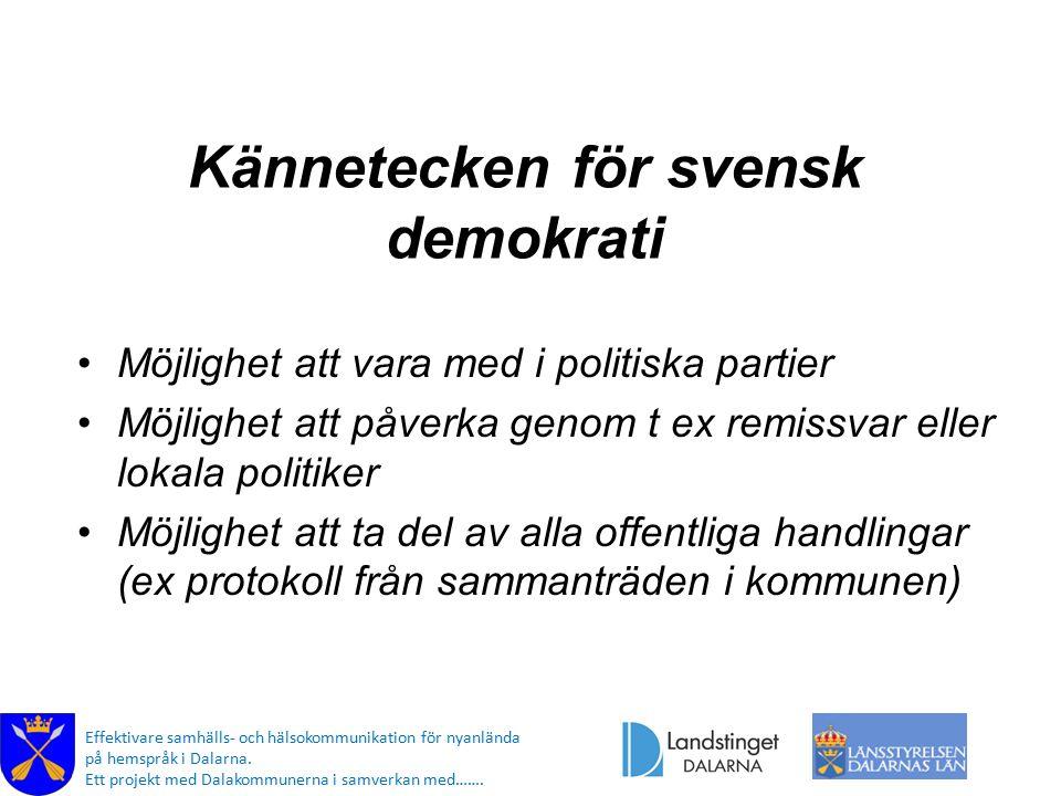 Kännetecken för svensk demokrati