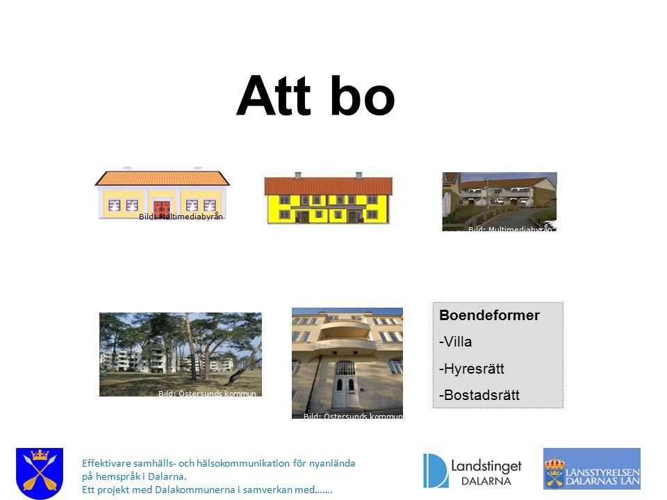 Att bo Boendeformer -Villa -Hyresrätt -Bostadsrätt