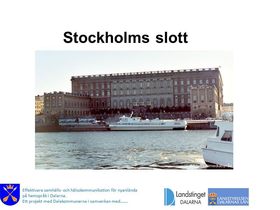 Stockholms slott Bild: Multimediabyrån. I Stockholm ligger Stockholms slott där kungen och drottningen bor.