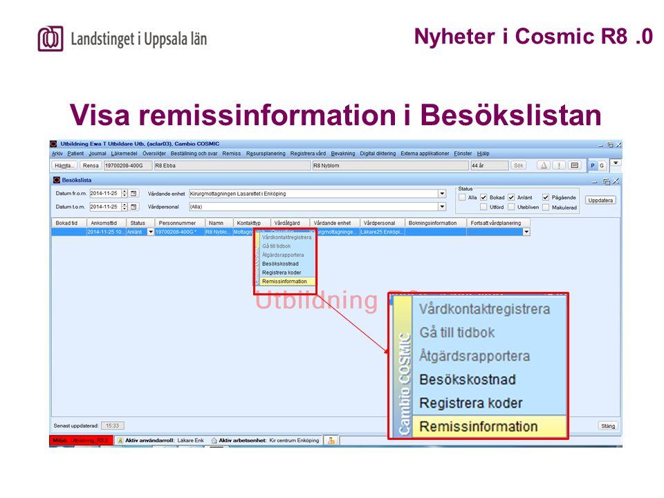 Visa remissinformation i Besökslistan