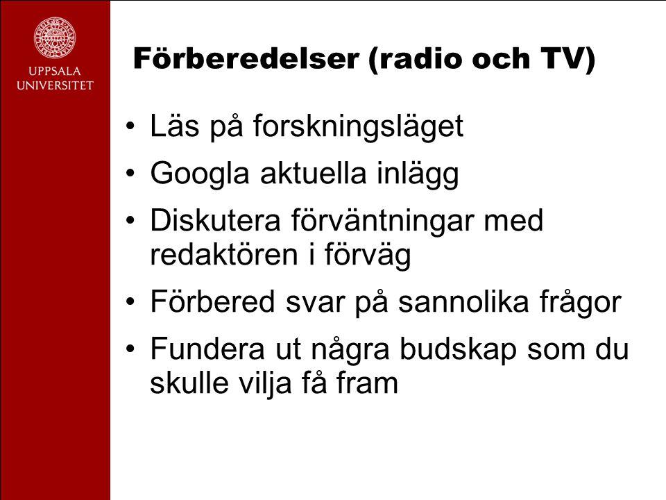 Förberedelser (radio och TV)