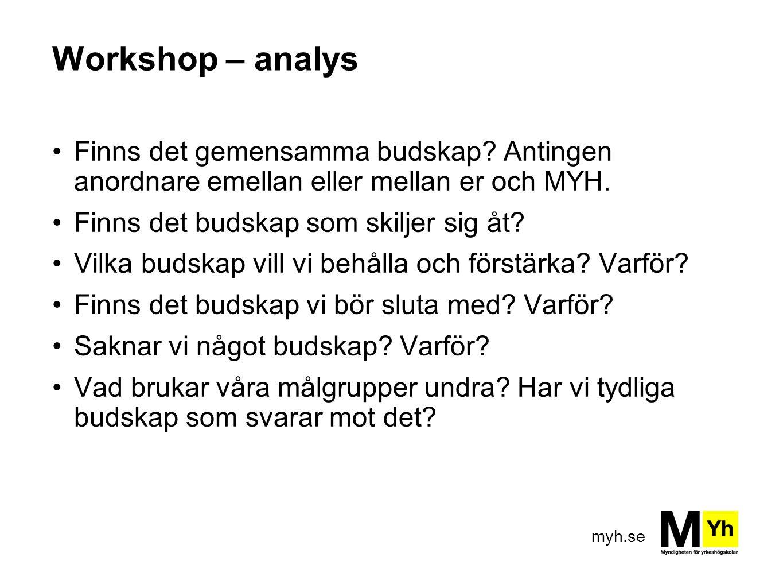 Workshop – analys Finns det gemensamma budskap Antingen anordnare emellan eller mellan er och MYH.