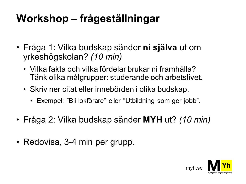 Workshop – frågeställningar