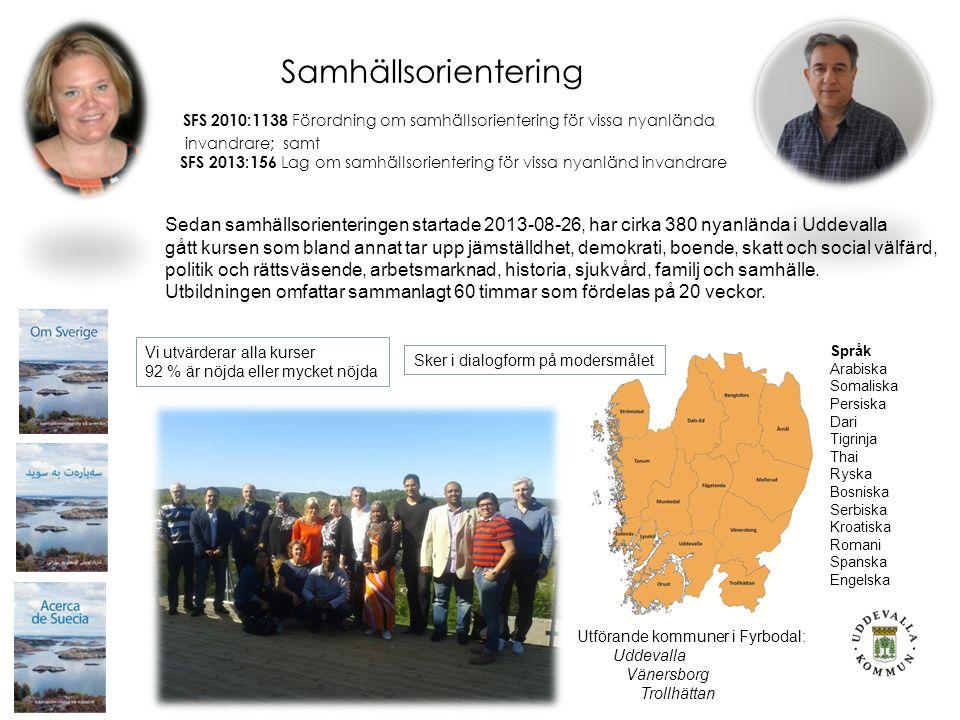 Samhällsorientering SFS 2010:1138 Förordning om samhällsorientering för vissa nyanlända invandrare; samt SFS 2013:156 Lag om samhällsorientering för vissa nyanländ invandrare