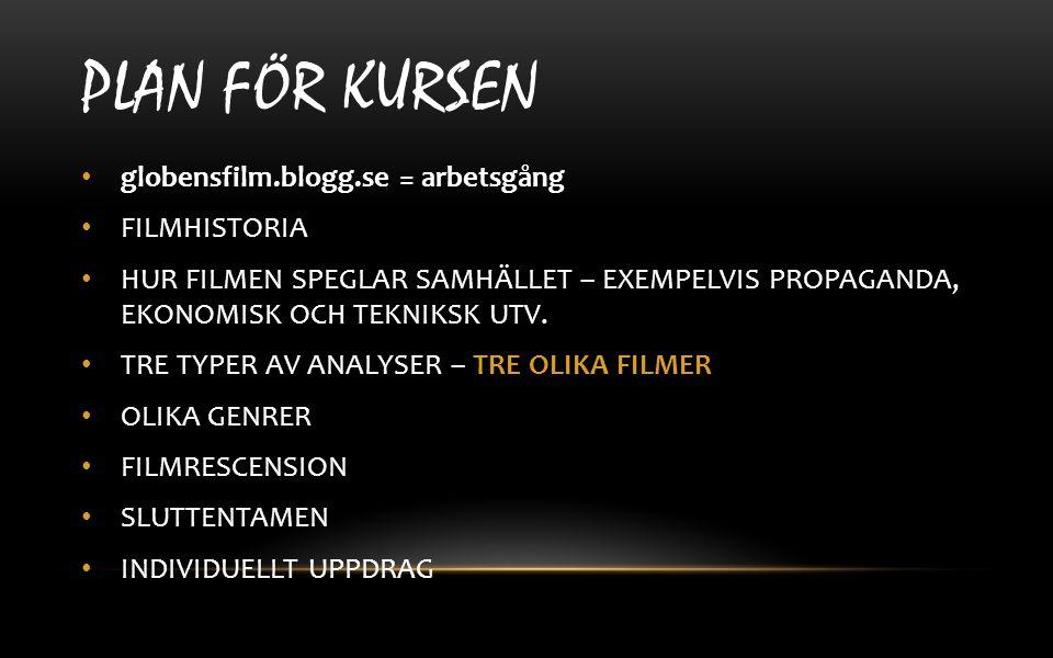 PLAN för kursen globensfilm.blogg.se = arbetsgång FILMHISTORIA