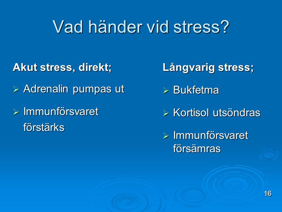 Vad händer vid stress Akut stress, direkt; Adrenalin pumpas ut