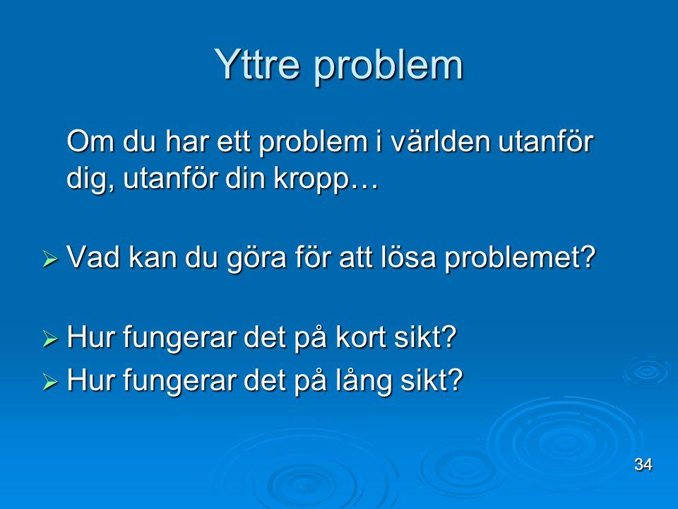 Yttre problem Om du har ett problem i världen utanför dig, utanför din kropp… Vad kan du göra för att lösa problemet