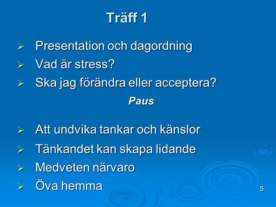 Träff 1 Presentation och dagordning Vad är stress