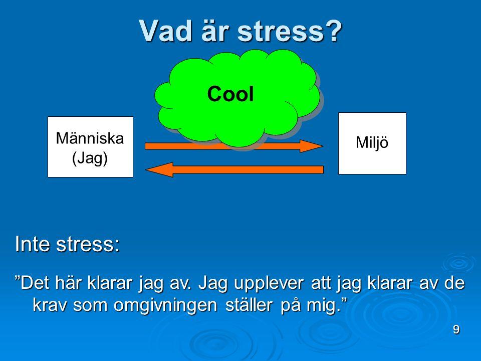 Vad är stress Cool Inte stress: