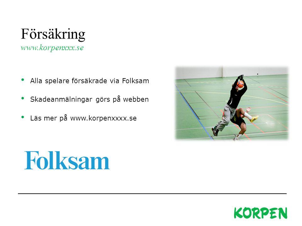 Försäkring www.korpenxxx.se Alla spelare försäkrade via Folksam