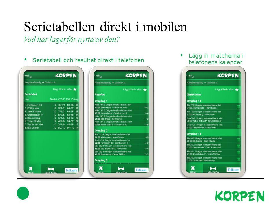 Serietabellen direkt i mobilen