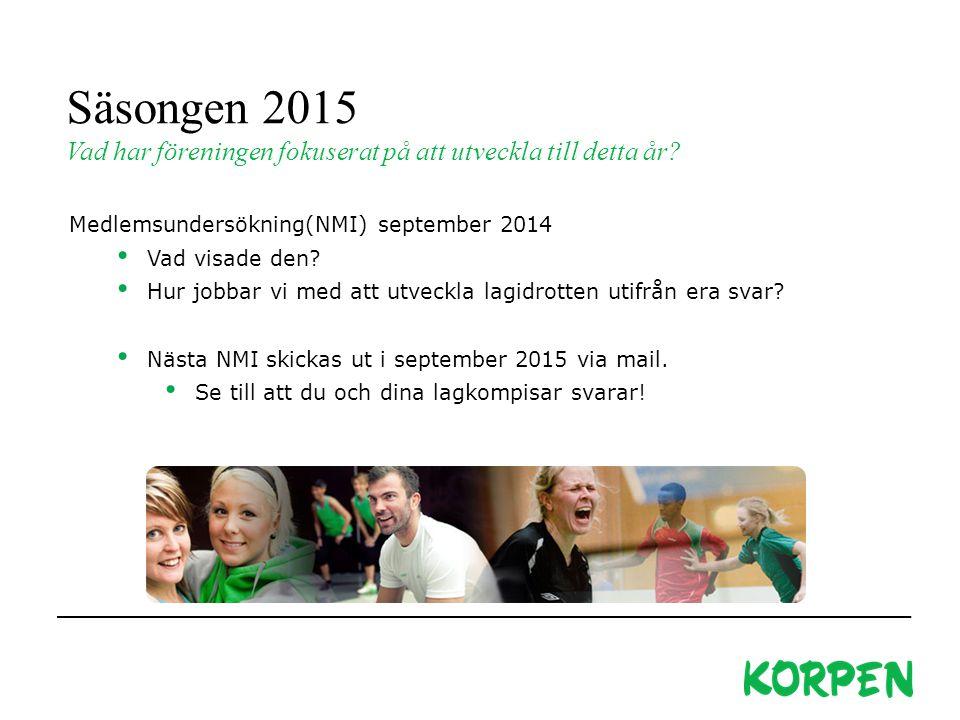 Säsongen 2015 Vad har föreningen fokuserat på att utveckla till detta år Medlemsundersökning(NMI) september 2014.