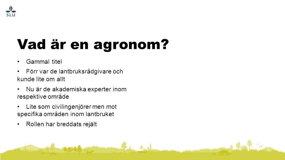 Vad är en agronom Gammal titel