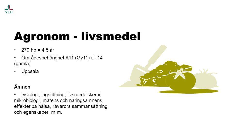 Agronom - livsmedel 270 hp = 4,5 år