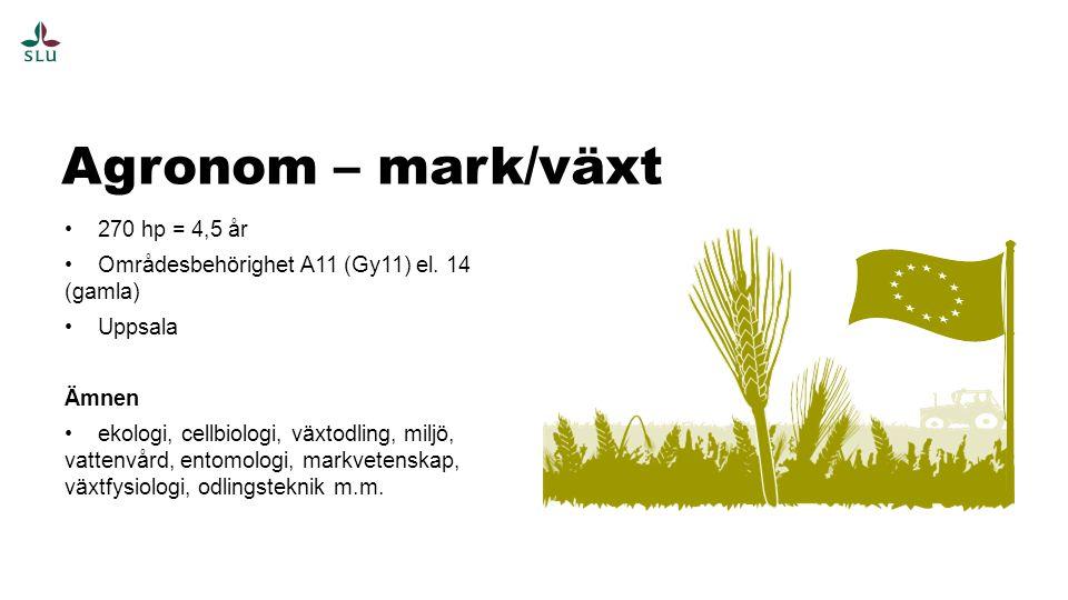 Agronom – mark/växt 270 hp = 4,5 år