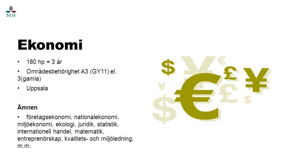 Ekonomi 180 hp = 3 år Områdesbehörighet A3 (GY11) el. 3(gamla) Uppsala