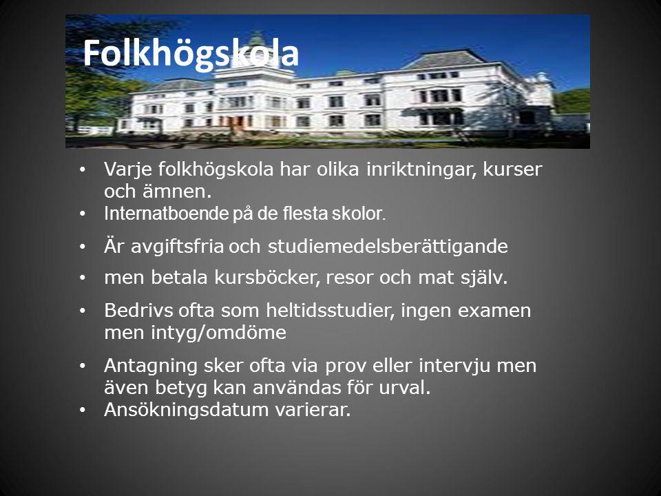 Folkhögskola Varje folkhögskola har olika inriktningar, kurser och ämnen. Internatboende på de flesta skolor.