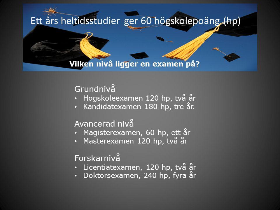 Ett års heltidsstudier ger 60 högskolepoäng (hp)