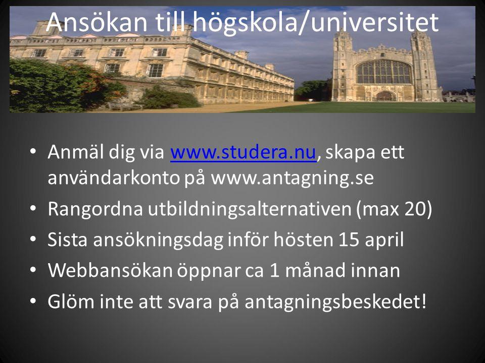 Ansökan till högskola/universitet
