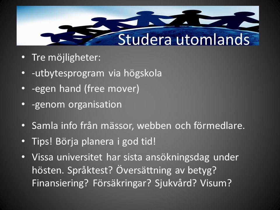 Studera utomlands Tre möjligheter: -utbytesprogram via högskola