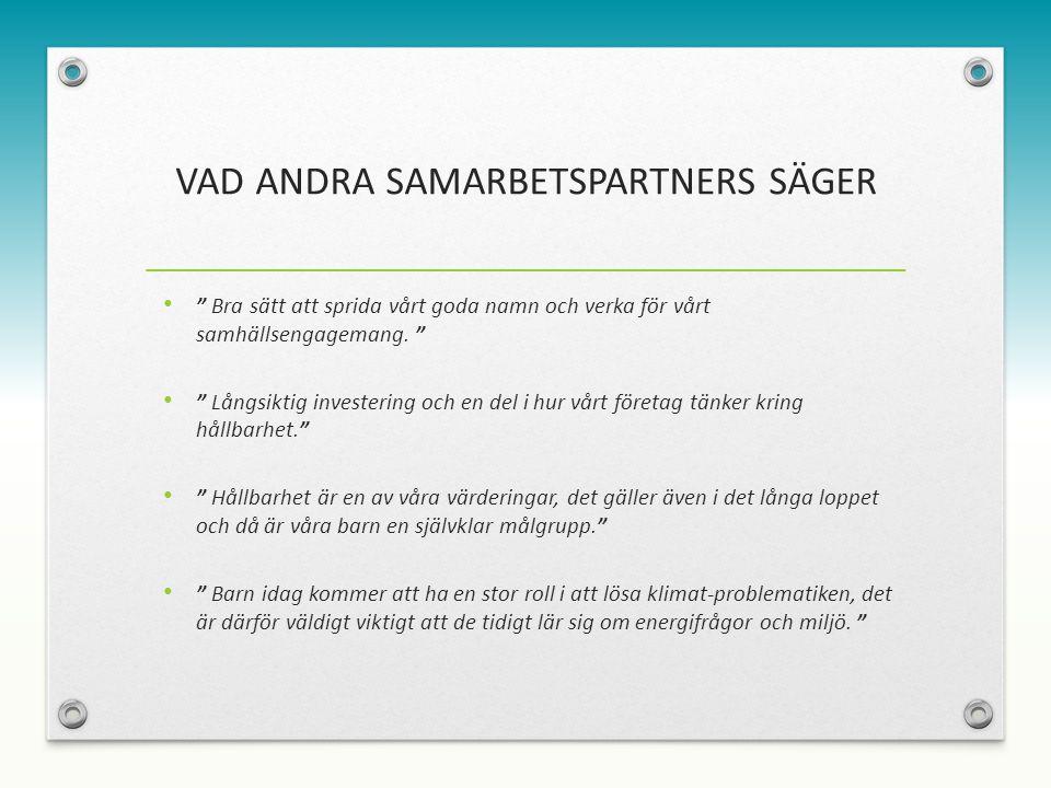 VAD ANDRA SAMARBETSPARTNERS SÄGER