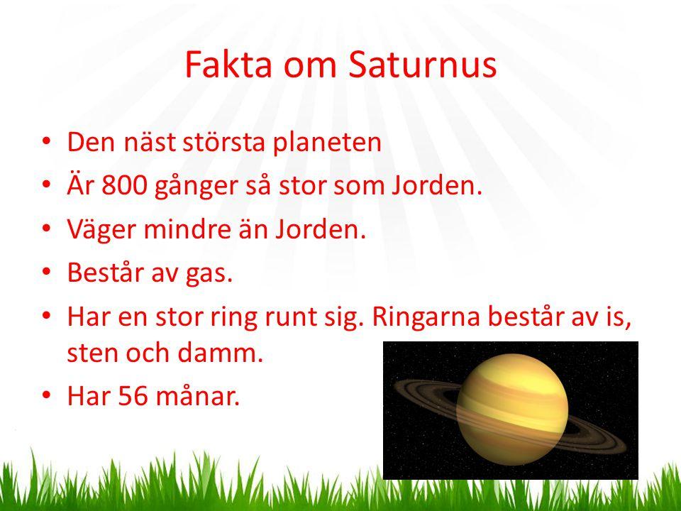 Fakta om Saturnus Den näst största planeten