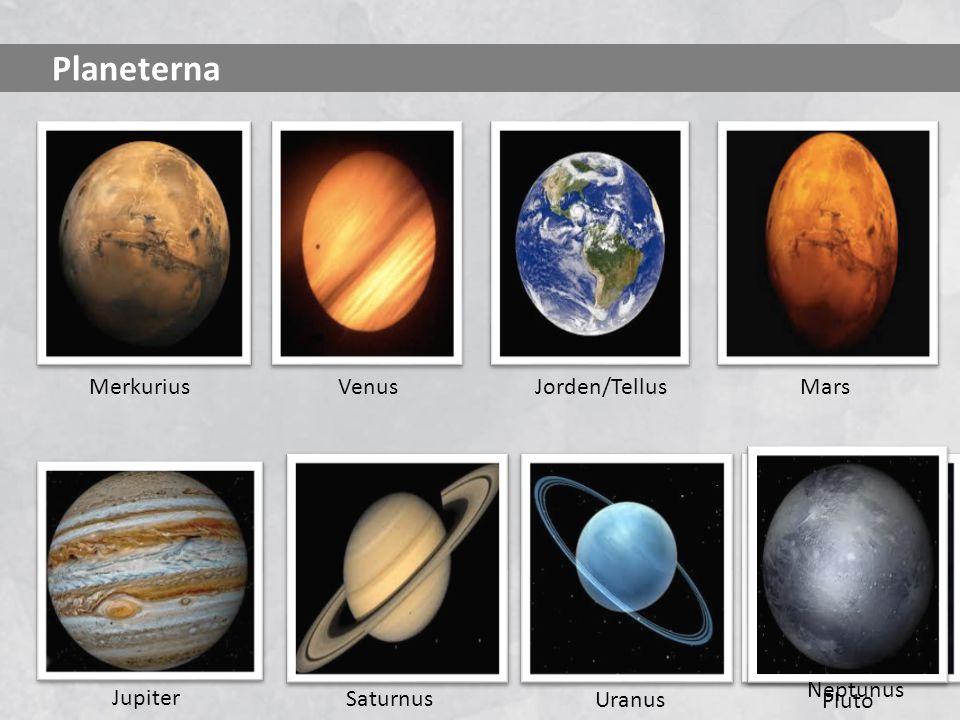 Planeterna Merkurius Venus Jorden/Tellus Mars Neptunus Jupiter