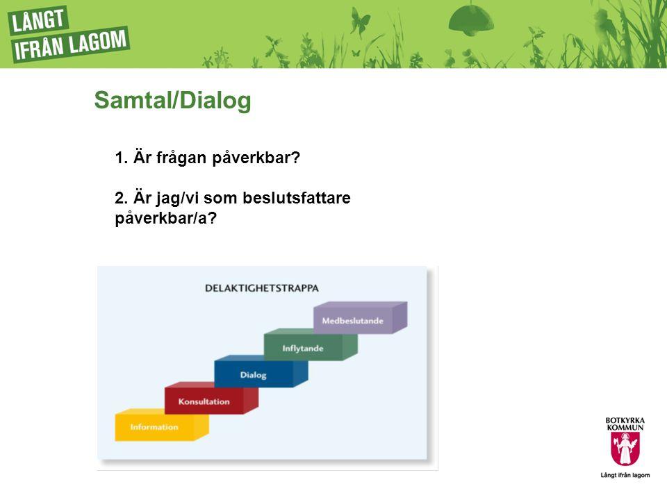 Samtal/Dialog 1. Är frågan påverkbar 2. Är jag/vi som beslutsfattare