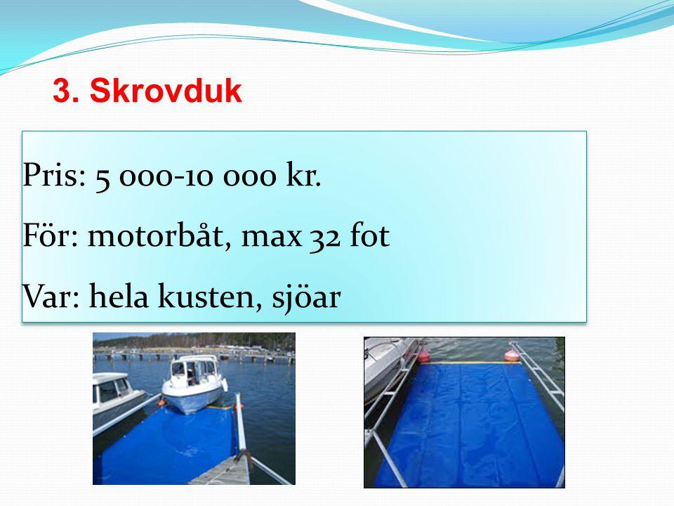 3. Skrovduk Pris: 5 000-10 000 kr. För: motorbåt, max 32 fot Var: hela kusten, sjöar.