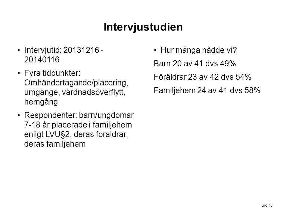 Intervjustudien Intervjutid: 20131216 - 20140116
