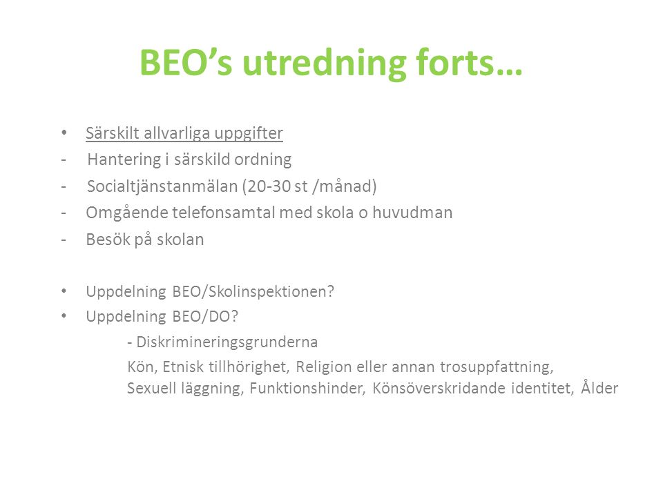 BEO's utredning forts…