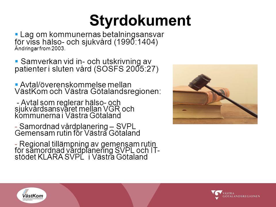 Styrdokument Lag om kommunernas betalningsansvar för viss hälso- och sjukvård (1990:1404) Ändringar from 2003.