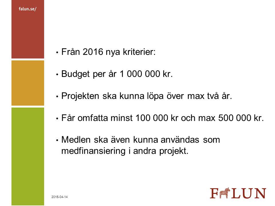 Från 2016 nya kriterier: Budget per år 1 000 000 kr. Projekten ska kunna löpa över max två år. Får omfatta minst 100 000 kr och max 500 000 kr.