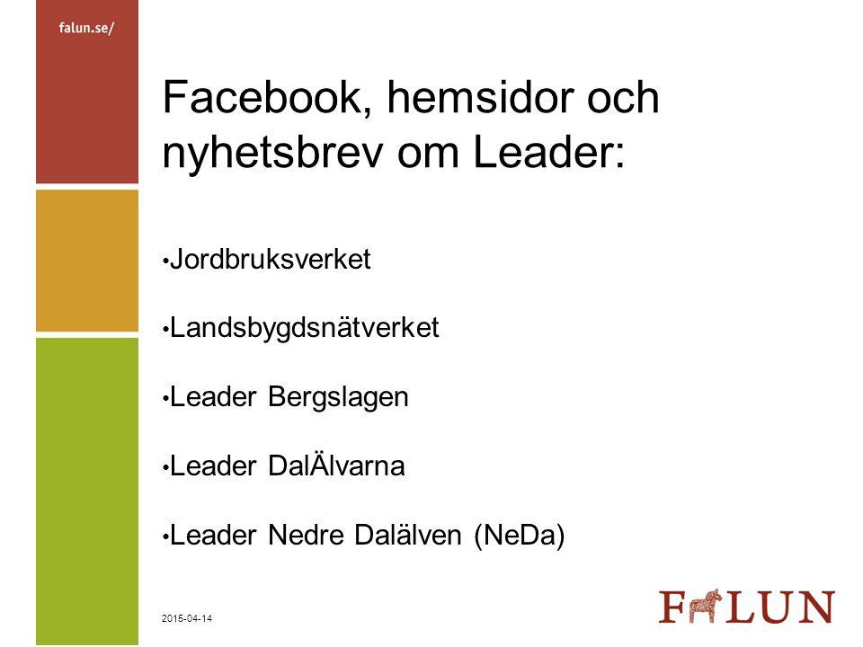 Facebook, hemsidor och nyhetsbrev om Leader: