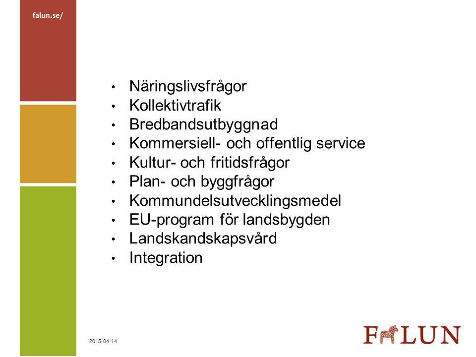 Näringslivsfrågor Kollektivtrafik. Bredbandsutbyggnad. Kommersiell- och offentlig service. Kultur- och fritidsfrågor.